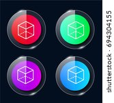 cube four color glass button ui ...