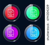 xml four color glass button ui...