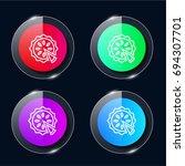pie four color glass button ui...