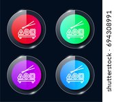 sushi four color glass button...