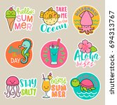 set of cute cartoon badges ... | Shutterstock .eps vector #694313767