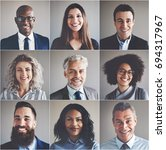 Stock photo collage of portraits of an ethnically diverse and mixed age group of focused businessmen and 694317967