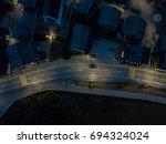 aerial view of road rural...   Shutterstock . vector #694324024