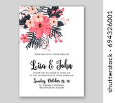 wedding invitation floral card... | Shutterstock .eps vector #694326001