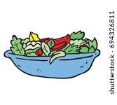 freehand drawn cartoon salad... | Shutterstock .eps vector #694326811