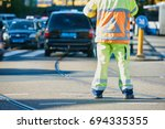 traffic control manager... | Shutterstock . vector #694335355