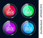open four color glass button ui ...
