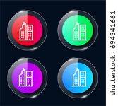 flats four color glass button...