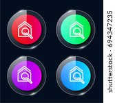 house four color glass button...