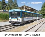 Small photo of DIGNE-LES-BAINS, FRANCE, AUGUST 5 2017. A 1972 CFD railcar stands at Digne-les-Bains station on the one metre gauge railway about to set off on its scenic journey to Nice 154 km away.