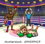 floyd mayweather knocks out... | Shutterstock .eps vector #694349419