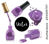 vector purple nails polish...   Shutterstock .eps vector #694349797