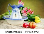 Photo based textured antique pitcher and basin with fresh cut tulips. - stock photo