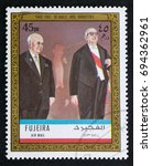 Small photo of TURIN, ITALY - AUGUST 7, 2017: A stamp printed in Fujeira showing Charles De Gaulle and Nikita Khrushchev, circa 1972
