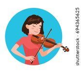 musician playing violin. girl... | Shutterstock .eps vector #694365625