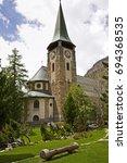 zermatt chapel church at the... | Shutterstock . vector #694368535