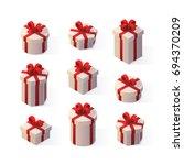 vector realistic gifts set.... | Shutterstock .eps vector #694370209