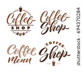 coffee shop logo lettering set. ... | Shutterstock .eps vector #694370284