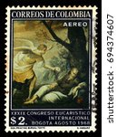 colombia   circa 1968  a stamp... | Shutterstock . vector #694374607