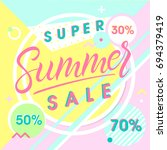 summer sale banner. hand drawn... | Shutterstock .eps vector #694379419