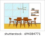 interior design elevation vector | Shutterstock .eps vector #694384771