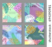 set of artistic colorful... | Shutterstock .eps vector #694390981