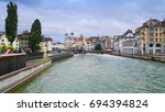 central part of lucerne  with... | Shutterstock . vector #694394824