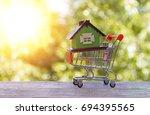 house on a supermarket cart on... | Shutterstock . vector #694395565