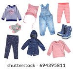 kids fashion autumn spring... | Shutterstock . vector #694395811