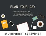 opened planner with plan your... | Shutterstock .eps vector #694398484
