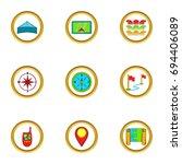 cartography icons set. cartoon...   Shutterstock .eps vector #694406089