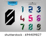 set of abstract numbers... | Shutterstock .eps vector #694409827