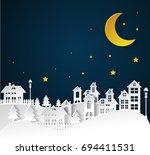 paper art winter snow urban... | Shutterstock .eps vector #694411531