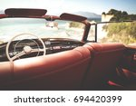 retro car of free space for... | Shutterstock . vector #694420399