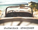 retro car of free space for... | Shutterstock . vector #694420489
