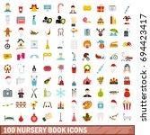 100 nursery book icons set in... | Shutterstock .eps vector #694423417