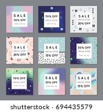 set of creative geometric... | Shutterstock .eps vector #694435579