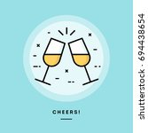cheers  flat design thin line... | Shutterstock .eps vector #694438654