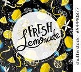 fresh lemons background. banner ... | Shutterstock .eps vector #694440877