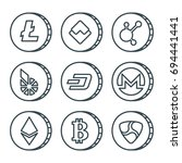 cryptocurrency black outline... | Shutterstock .eps vector #694441441