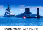 warship. missile cruiser....   Shutterstock . vector #694442641