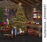 christmas room with desk ... | Shutterstock . vector #694443697