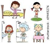daily morning girls life... | Shutterstock .eps vector #69445276