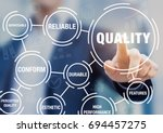 Small photo of Quality management in business process and organization to improve customer satisfaction, with manager touching button on virtual screen