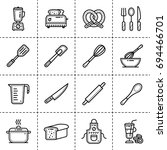 unique linear icons set of... | Shutterstock . vector #694466701