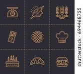 set of linear icons  bakery and ... | Shutterstock . vector #694468735