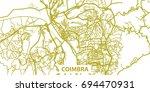 detailed vector map of coimbra... | Shutterstock .eps vector #694470931