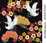 seamless pattern with flying... | Shutterstock .eps vector #694475767
