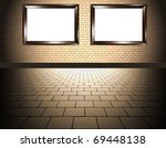 two frame an brick wall - stock photo