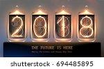 vintage nixie tube 2018... | Shutterstock .eps vector #694485895